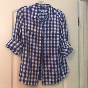 Isaac Mizrahi blue and white gingham top